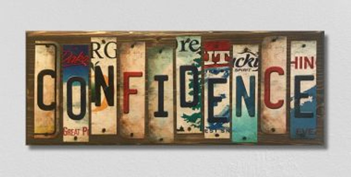 Confidence License Plate Strip Novelty Wood Sign WS-043