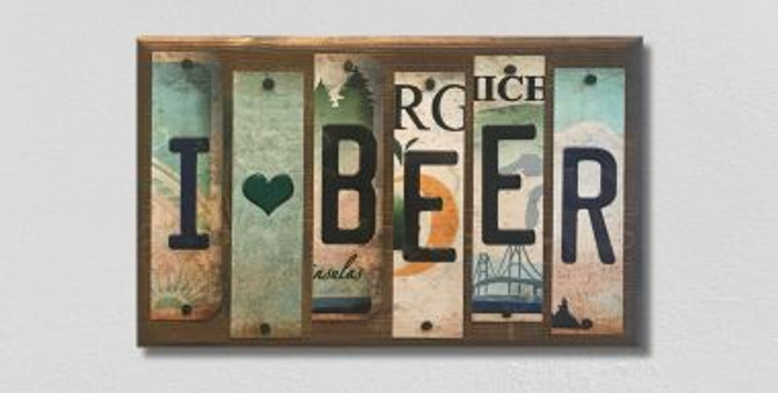 I Love Beer License Plate Strip Novelty Wood Sign WS-059