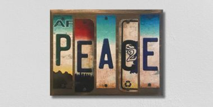 Peace License Plate Strips Novelty Wood Sign WS-095
