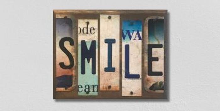 Smile License Plate Strips Novelty Wood Sign WS-096
