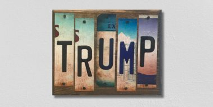 Trump License Plate Strips Novelty Wood Sign WS-098