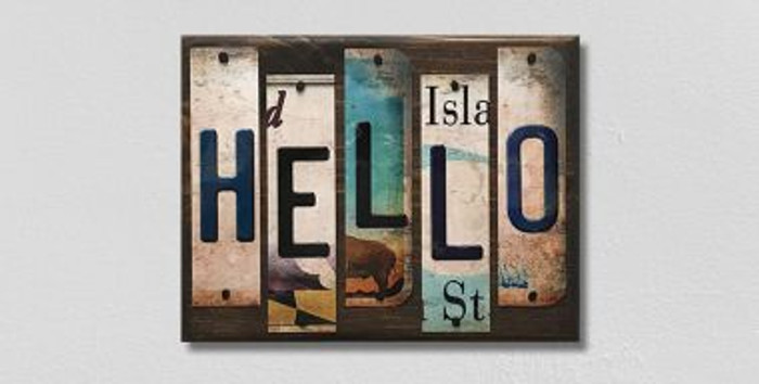 Hello License Plate Strips Novelty Wood Sign WS-110