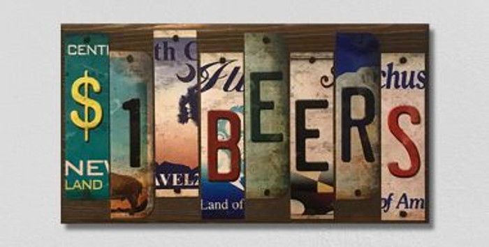 1 Dollar Beers License Plate Strips Novelty Wood Sign WS-126