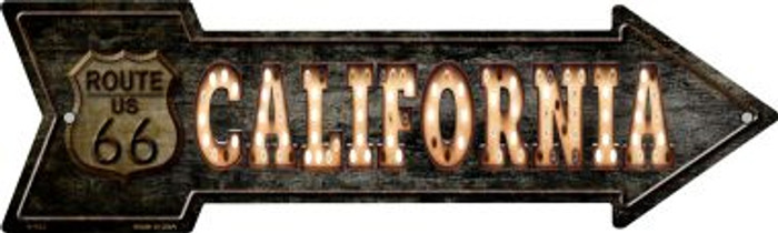 California Route 66 Bulb Letters Novelty Metal Arrow Sign A-423