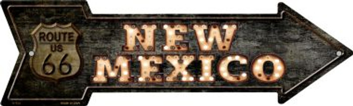 New Mexico Route 66 Bulb Letters Novelty Metal Arrow Sign A-425