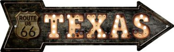 Texas Route 66 Bulb Letters Novelty Metal Arrow Sign A-426