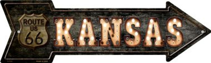 Kansas Route 66 Bulb Letters Novelty Metal Arrow Sign A-428