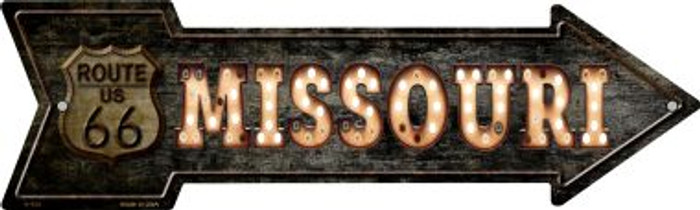 Missouri Route 66 Bulb Letters Novelty Metal Arrow Sign A-429