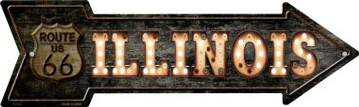 Illinois Route 66 Bulb Letters Novelty Metal Arrow Sign A-430