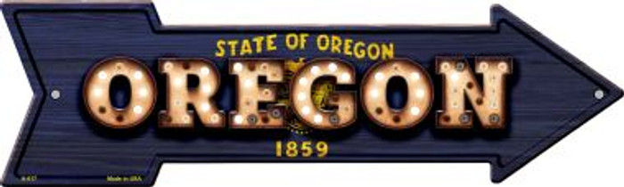Oregon Bulb Lettering With State Flag Novelty Arrows A-617