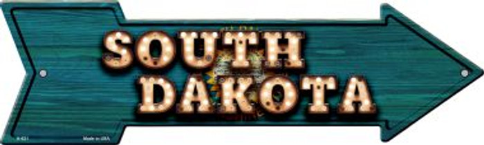 South Dakota Bulb Lettering With State Flag Novelty Arrows A-621