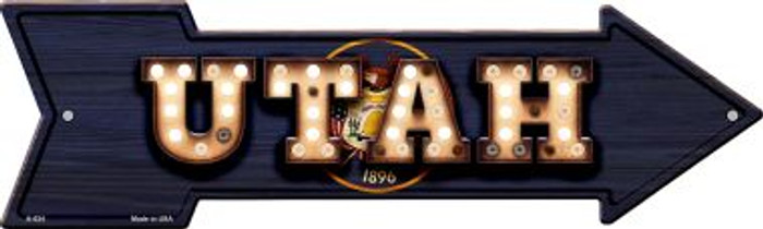 Utah Bulb Lettering With State Flag Novelty Arrows A-624