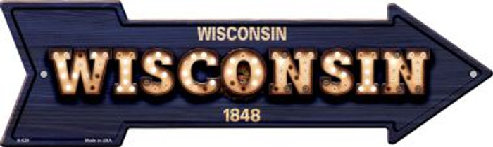 Wisconsin Bulb Lettering With State Flag Novelty Arrows A-629
