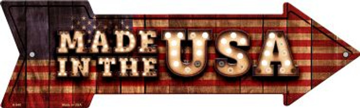 Made in the USA Bulb Letters American Flag Novelty Arrow Sign A-640