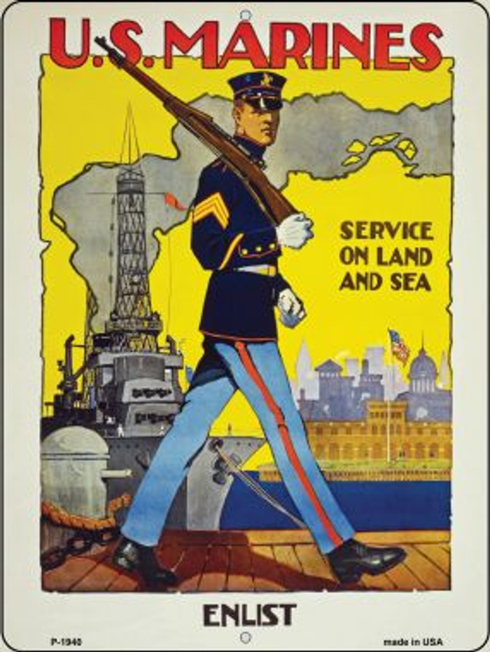 Enlist in the US Marines Vintage Poster Parking Sign P-1940