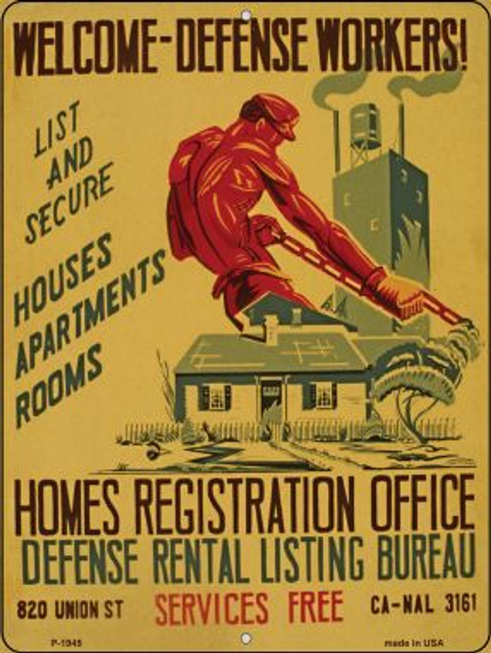 Welcome Defense Workers Vintage Poster Parking Sign P-1945