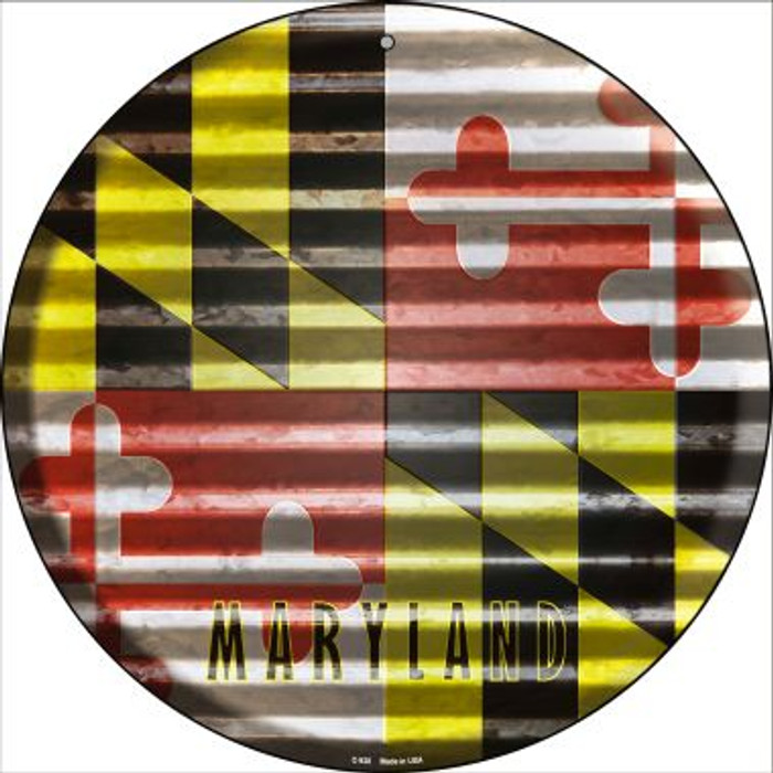 Maryland Flag Corrugated Effect Novelty Circular Sign C-930