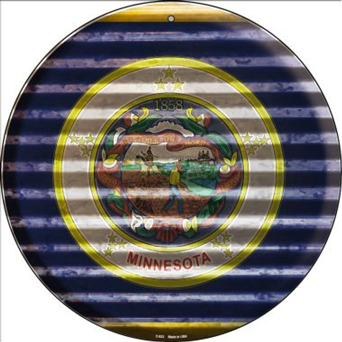 Minnesota Flag Corrugated Effect Novelty Circular Sign C-933