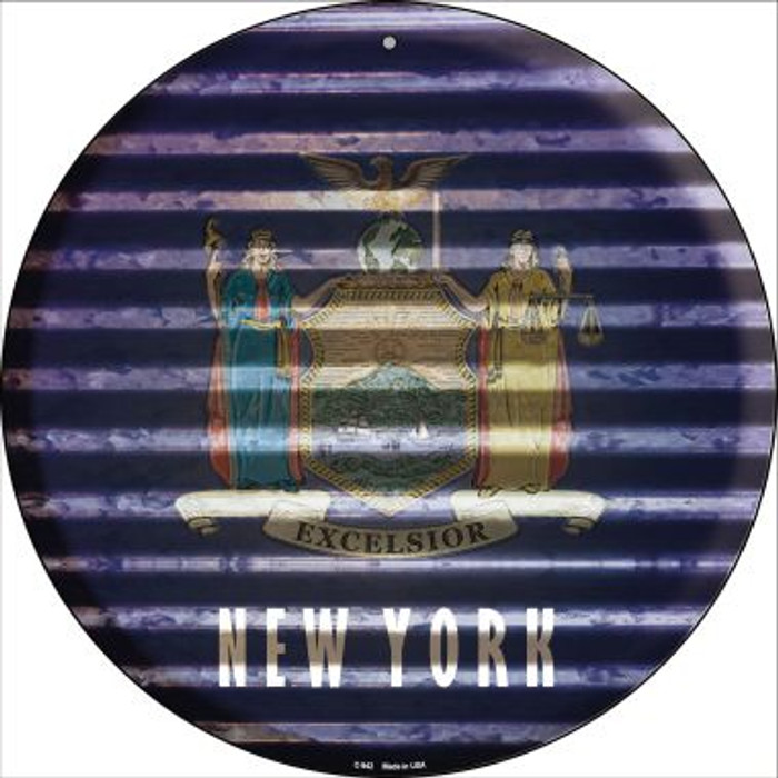 New York Flag Corrugated Effect Novelty Circular Sign C-942