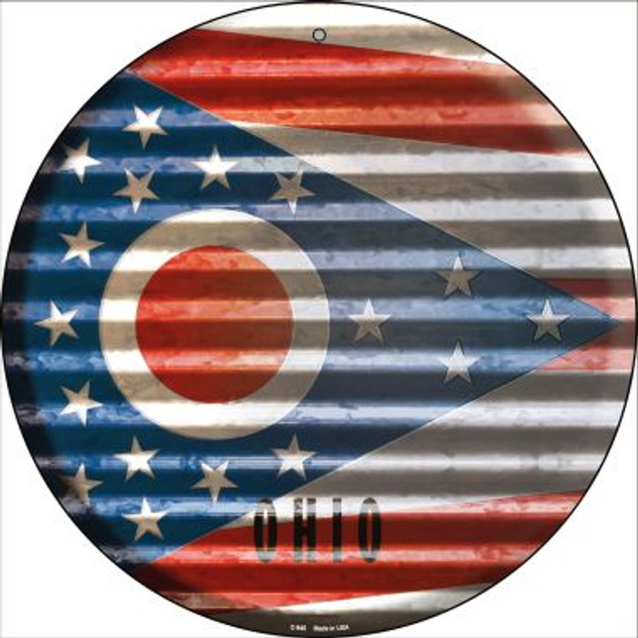 Ohio Flag Corrugated Effect Novelty Circular Sign C-945