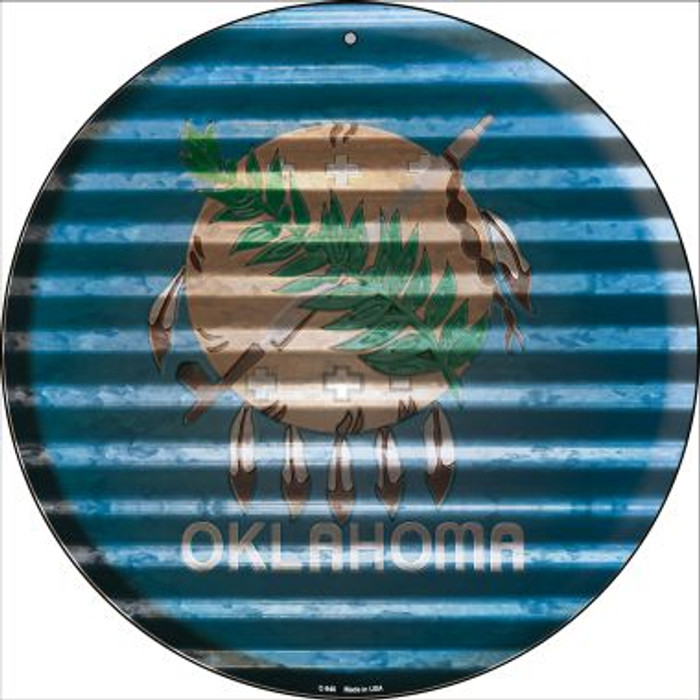 Oklahoma Flag Corrugated Effect Novelty Circular Sign C-946