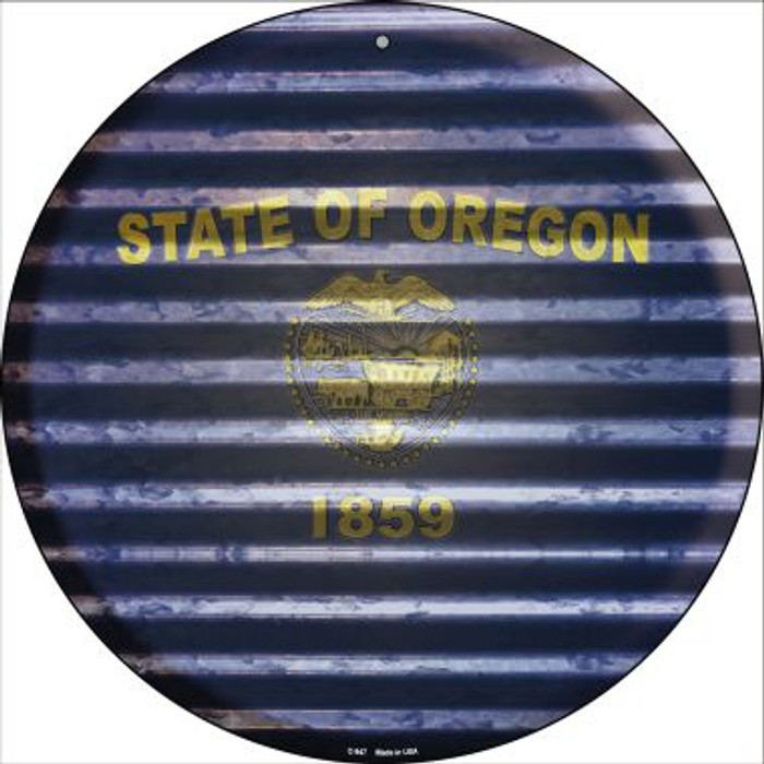Oregon Flag Corrugated Effect Novelty Circular Sign C-947