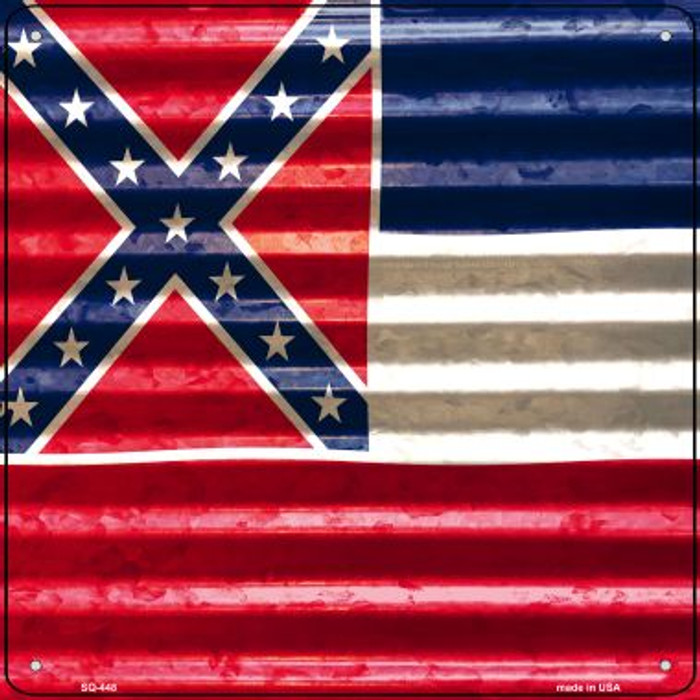 Mississippi Flag Corrugated Effect Novelty Square Sign SQ-448