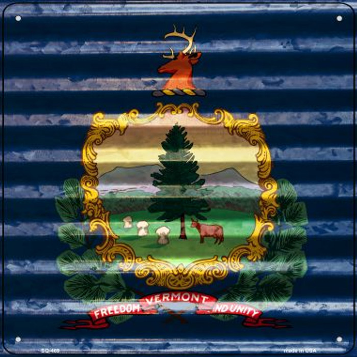 Vermont Flag Corrugated Effect Novelty Square Sign SQ-469