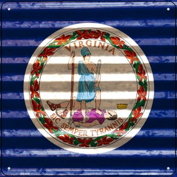 Virginia Flag Corrugated Effect Novelty Square Sign SQ-470