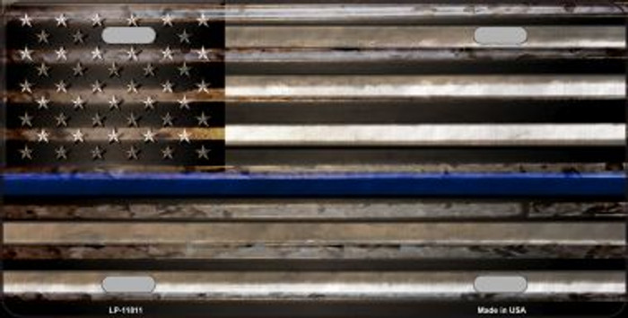 Thin Blue Line American Flag Novelty License Plate LP-11811