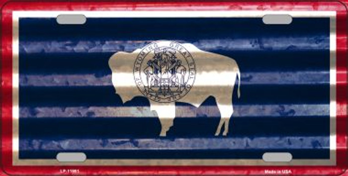 Wyoming Corrugated Flag Novelty License Plate LP-11991