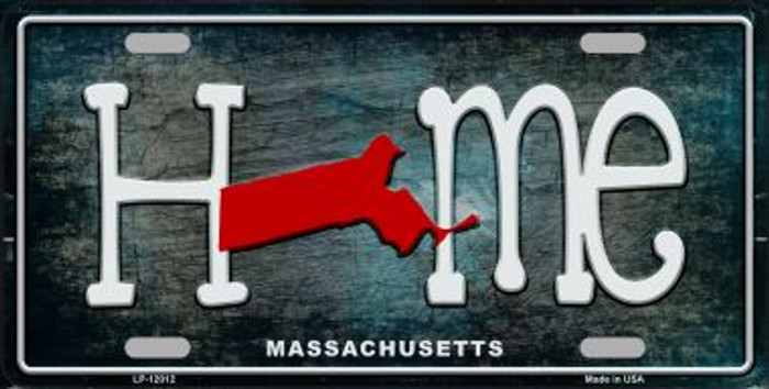 Massachusetts Home State Outline Novelty License Plate LP-12012
