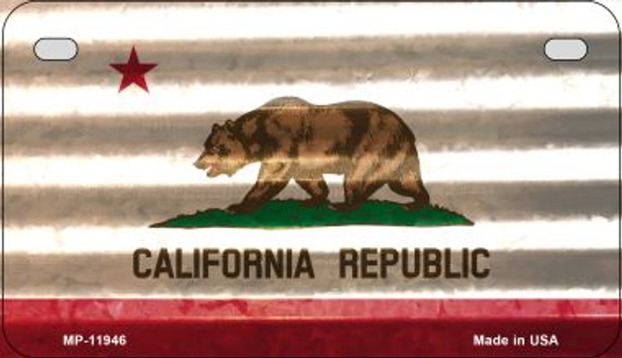California Corrugated Flag Novelty Motorcycle Plate MP-11946