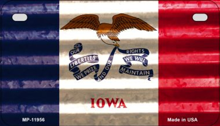 Iowa Corrugated Flag Novelty Motorcycle Plate MP-11956