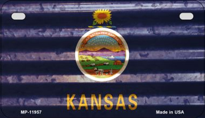 Kansas Corrugated Flag Novelty Motorcycle Plate MP-11957