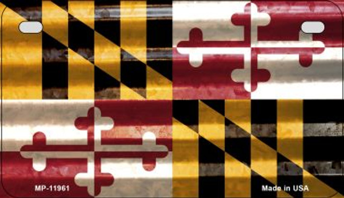 Maryland Corrugated Flag Novelty Motorcycle Plate MP-11961