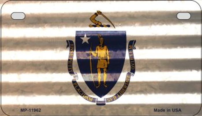 Massachusetts Corrugated Flag Novelty Motorcycle Plate MP-11962