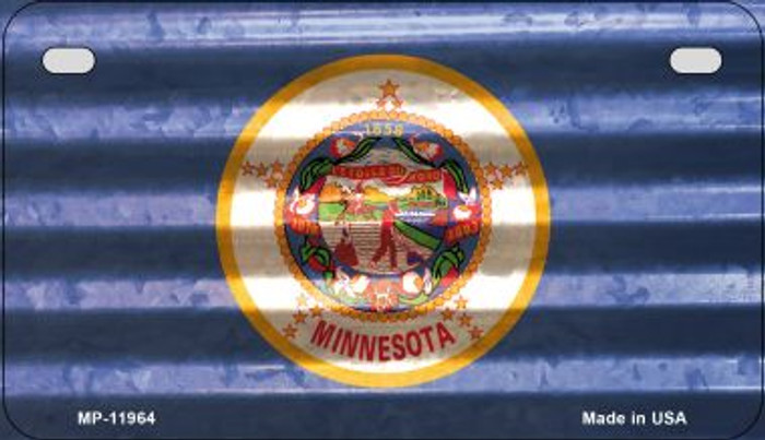Minnesota Corrugated Flag Novelty Motorcycle Plate MP-11964