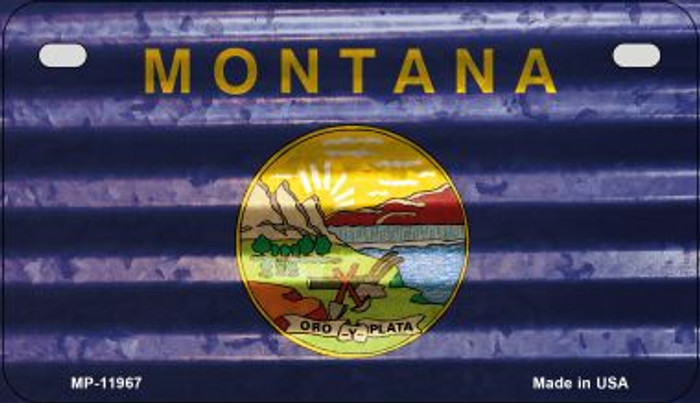 Montana Corrugated Flag Novelty Motorcycle Plate MP-11967