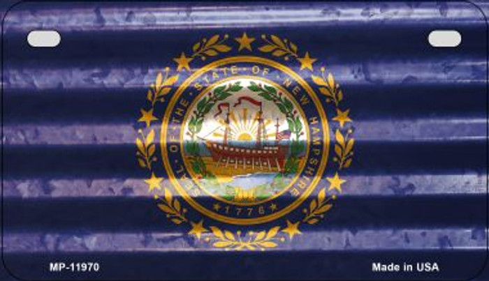 New Hampshire Corrugated Flag Novelty Motorcycle Plate MP-11970
