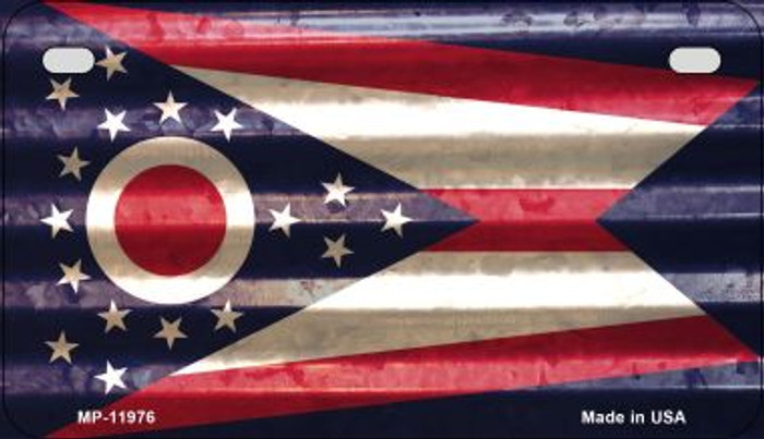 Ohio Corrugated Flag Novelty Motorcycle Plate MP-11976