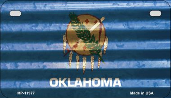 Oklahoma Corrugated Flag Novelty Motorcycle Plate MP-11977