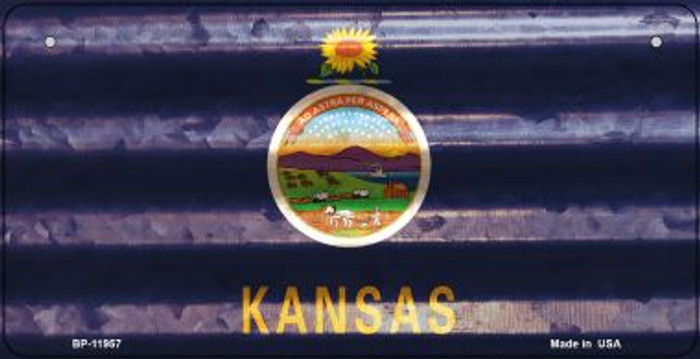 Kansas Corrugated Flag Novelty Bicycle Plate BP-11957