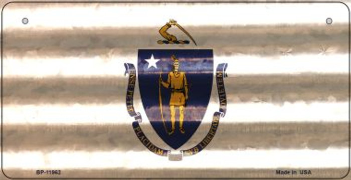Massachusetts Corrugated Flag Novelty Bicycle Plate BP-11962