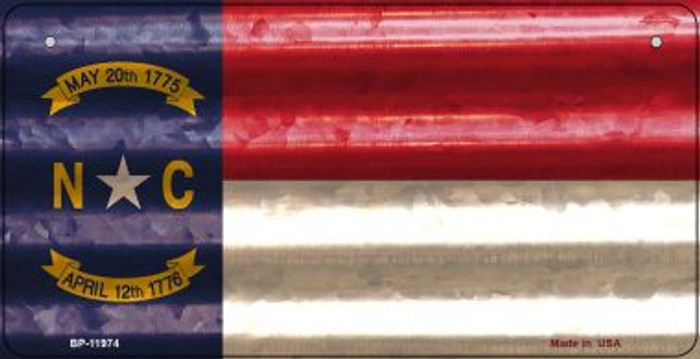 North Carolina Corrugated Flag Novelty Bicycle Plate BP-11974
