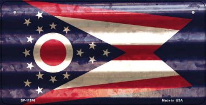 Ohio Corrugated Flag Novelty Bicycle Plate BP-11976