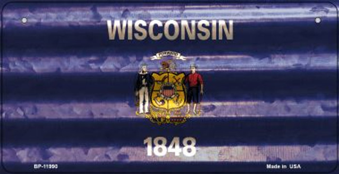 Wisconsin Corrugated Flag Novelty Bicycle Plate BP-11990