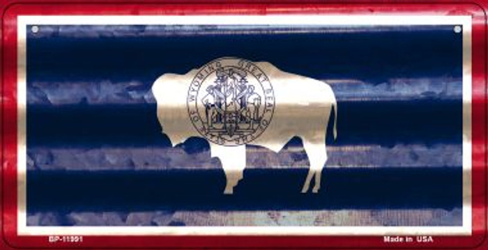 Wyoming Corrugated Flag Novelty Bicycle Plate BP-11991