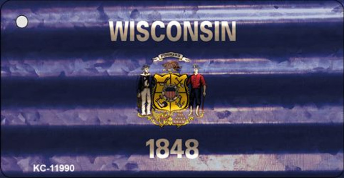 Wisconsin Corrugated Flag Novelty Key Chain KC-11990