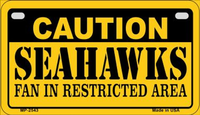 Caution Seahawks Metal Novelty Motorcycle Plate MP-2543